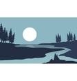 Silhouette of river and moon landscape vector image