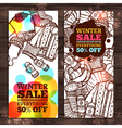 Winter Sale Sketch Banners Winter Clothes Sale vector image
