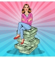 Pop Art Rich Woman Sitting on a Stack of Money vector image
