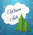 Paper applique fir tree and winter sale cloud vector image