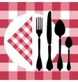 menu design with cutlery silhouettes vector image vector image