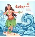 Retro style Hawaiian beautiful hula girl vector image