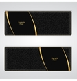Elegant black leather horizontal banner with two vector image
