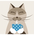 Cat with cup of tea vector image