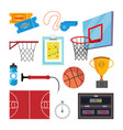 basketball icons set sport basketball vector image