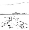 hand drawn village houses sketch and nature vector image