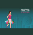 shopping woman wearing high heel shoes and vector image