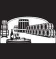 wine cellar with a tasting plate vector image