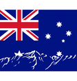 mountains with flag of australia vector image