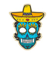 Day of dead skull with sombrero vector image