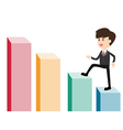 business man stepping staircase to top white vector image