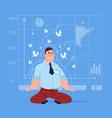 business man sit yoga lotus pose relaxing vector image