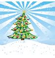 Christmas tree on snow hill vector image