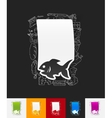 fish paper sticker with hand drawn elements vector image