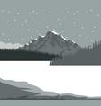 monochrome scene landscape background of mountains vector image