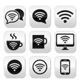 Wifi internet cafe wifi buttons set vector image vector image