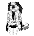 Fashion monkey with bag for poster vector image