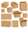 cardboard box mockup set realistic style vector image