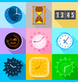 different clock icons set flat style vector image