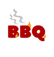 flaming bbq word barbecue party design element vector image