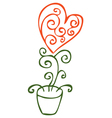 Flower in the form of heart in a pot vector image