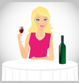 Girl drinks wine vector image