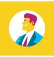 Smiling businessman round avatar icon vector image