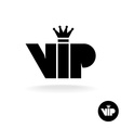 VIP letters abbreviation simple black silhouette vector image