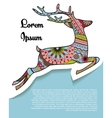 Background with deer on paper and place for text vector image