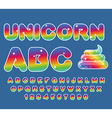 Unicorn ABC Rainbow font Multicolored letters vector image