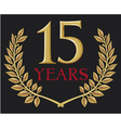 golden laurel wreath fifteen years anniversary vector image