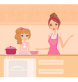 Happy mother helping her daughter cooking in the vector image