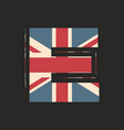 capital 3d letter e with uk flag texture isolated vector image