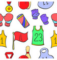 doodle sport equipment object various vector image
