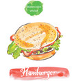 hamburger watercolor vector image