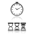 set of different kind of clock icons vector image