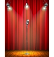 Vintage Microphone On Illuminated Stage vector image