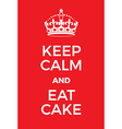 Keep Calm and Eat Cake poster vector image