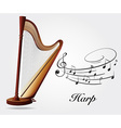 Harp and music notes vector image