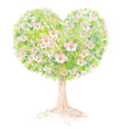 tree spring heart vector image