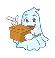 with box cute ghost character cartoon vector image