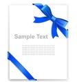 Shiny blue satin ribbon on white background vector image vector image