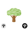Oak tree logo elegant smooth stripes style vector image
