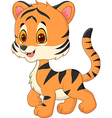 Cute baby tiger posing isolated on white backgroun vector image
