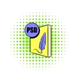 PSD file icon in comics style vector image