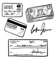 Doodle credit check cash vector image