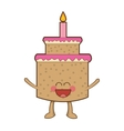 happy Cute kawaii cake with candle vector image