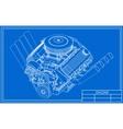 Hot rod V8 Engine drawing vector image