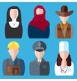 Icons people nurse nun police cowboy builder vector image