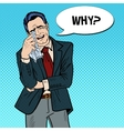 Pop Art Crying Businessman Wipes his Tears vector image